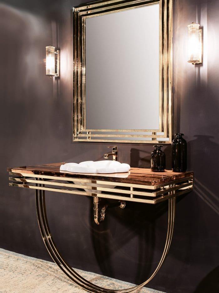 Gaia Mobili - Designer Badmöbel mit Metallgestell und Antik Holzplatte, Artdeco Stil