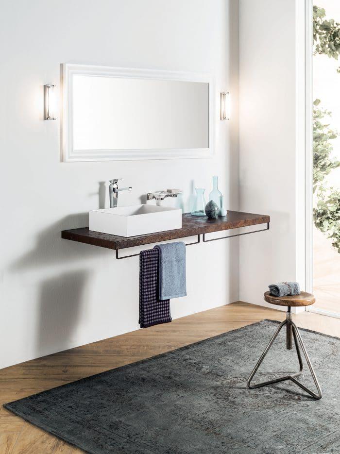 Gaia Mobili - Badezimmer Waschtisch mit Cor-ten Stahl Blatt, Ruggine 2