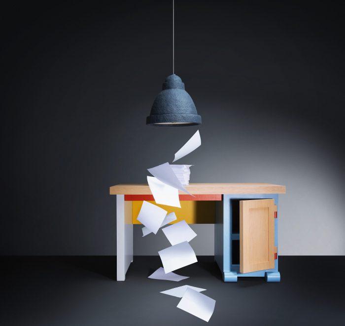 moooi - Salago Pendelleuchte & Paper Desk